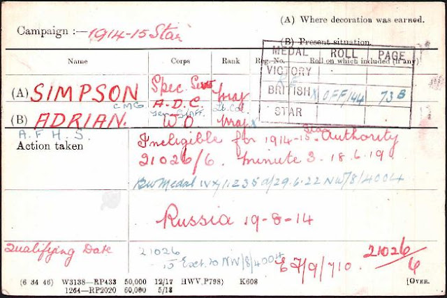First World War Medal Card of Adrian Francis Hugh Sibbald Simpson (from Ancestry)