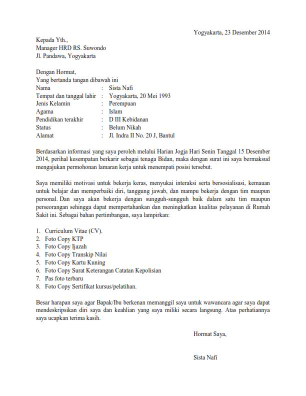 surat lamaran kerja bidan ben jobs