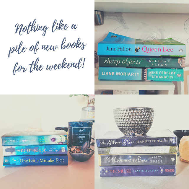 """Collage of 4 photos. top right a quote, """"nothing like  a new pile of books for the weekend. All other photos are piles of books stacked sideways"""
