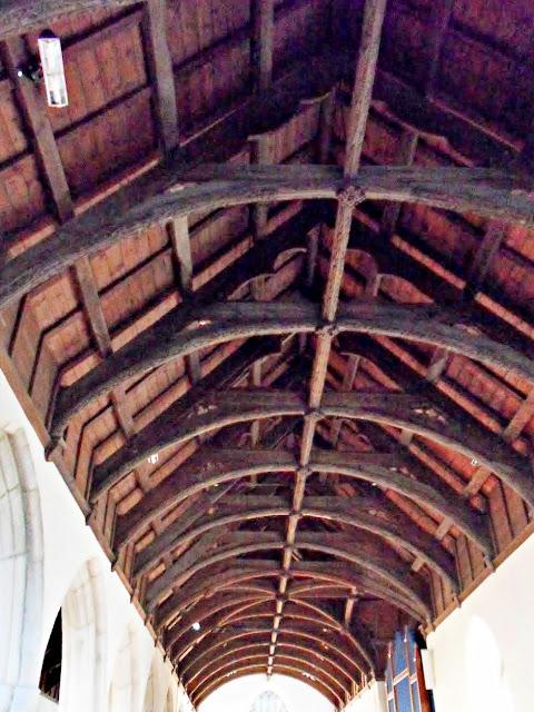 Wooden rafters at Veryan church, Cornwall