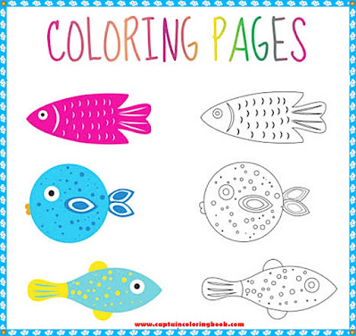 Coloring book page. Set fish