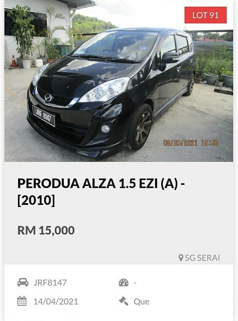 Kereta Perodua Alza tahun 2010 harga lelong RM15 ribu
