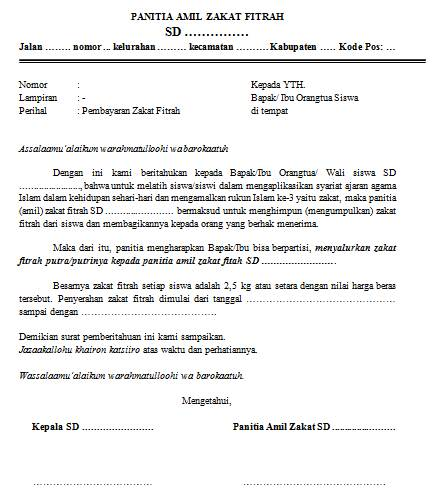 Surat Pemberitahuan Membayar Zakat Fitrah Dokumen Sekolah Dasar