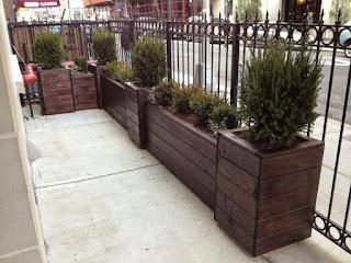 large sidewalk planter stained dark by newyorkplantings.com Todd Nappi custom built planters NYC.jpg
