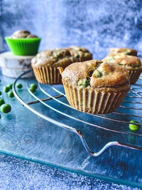Muffins petits-pois, chèvre, curry -  Recette facile - IG bas