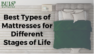 A bed next to the text 'Best Types of Mattresses for Different Stages of Life' advertising the blog post from Buis Mattress in Holland, MI