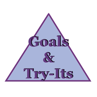 "A simple blue triangle with a purple outline.  In purple the words, ""Goals and try its"" is written over the triangle."
