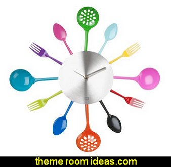 Silverware Utensils Wall Clock  kitchen accessories - fun kitchen decor - decorative themed kitchen  - novelty mugs - kitchen wall decals - kitchen wall quotes - cool stuff to buy - kitchen cupboard contact paper -  kitchen storage ideas - unique kitchen gadgets - food pillows