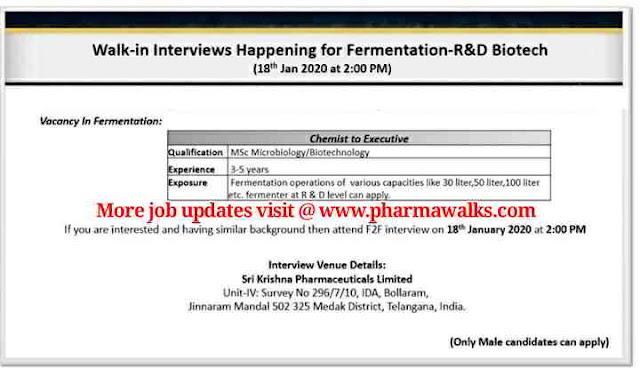 Sri Krishna Pharmaceuticals walk-in interviews on 18th Jan' 2020