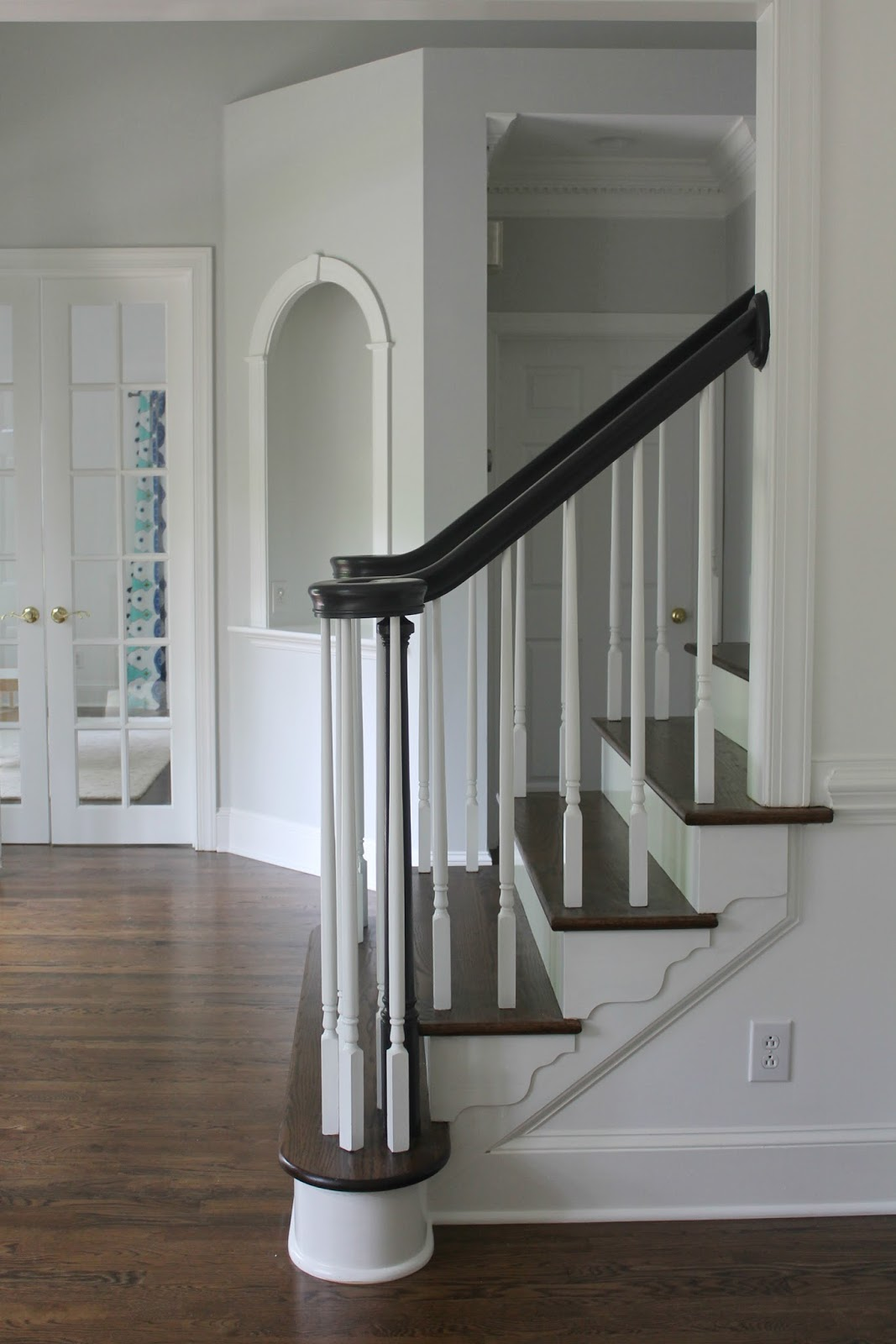 Home tour staircase makeover refinished hardwoods for Benjamin moore floor paint
