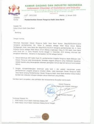 KADIN INDONESIA (PUSAT) INTRUKSIKAN KADIN JABAR AGAR MENCABUT SK PEMBERHENTIAN DONY DAN JAHJA