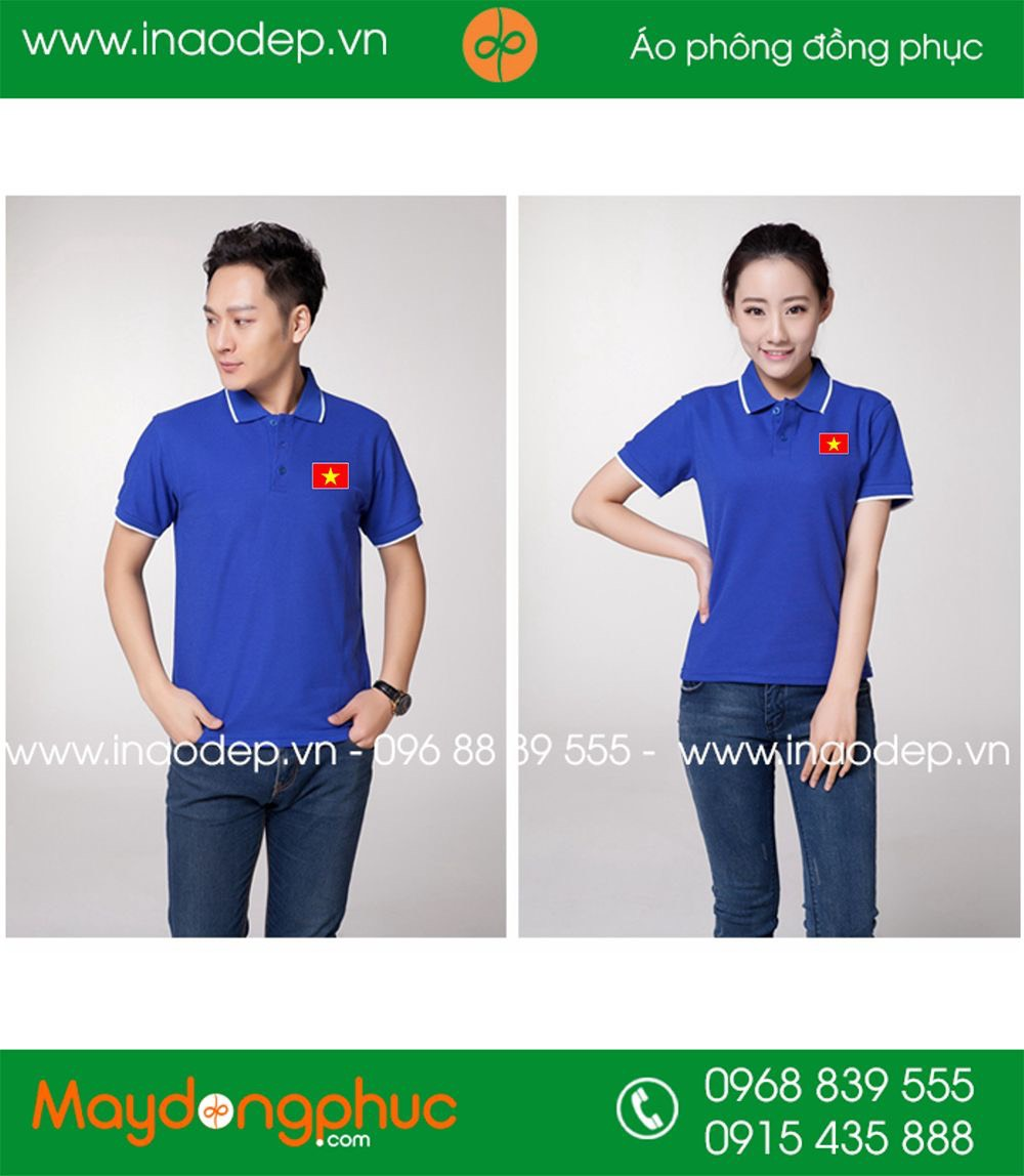 Áo phông xanh YA - in cờ đỏ sao vàng
