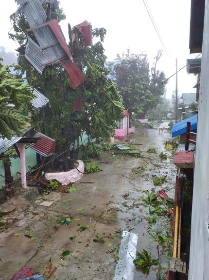 Trees filled with roof materials as 'Ambo' makes landfall Samar