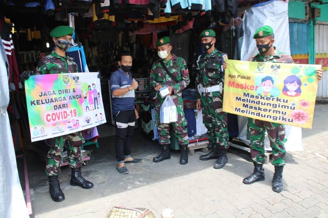 Korem 043/Gatam Laksanakan Himbauan dan penegakan Disiplin Protokol Kesehatan Covid 19.