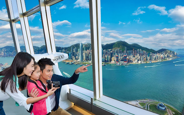 A family in Sky 100 Hong Kong