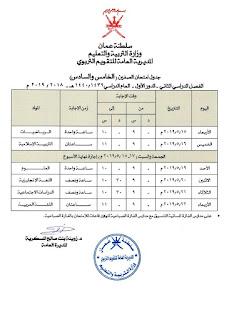 جداول امتحانات النقل الفصل الثاني للصفوف من الخامس وللحادي عشر 2019