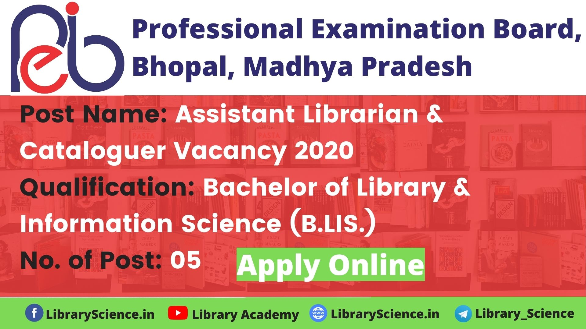 Assistant Librarian & Cataloguer Vacancy 2020 in Madhya Pradesh