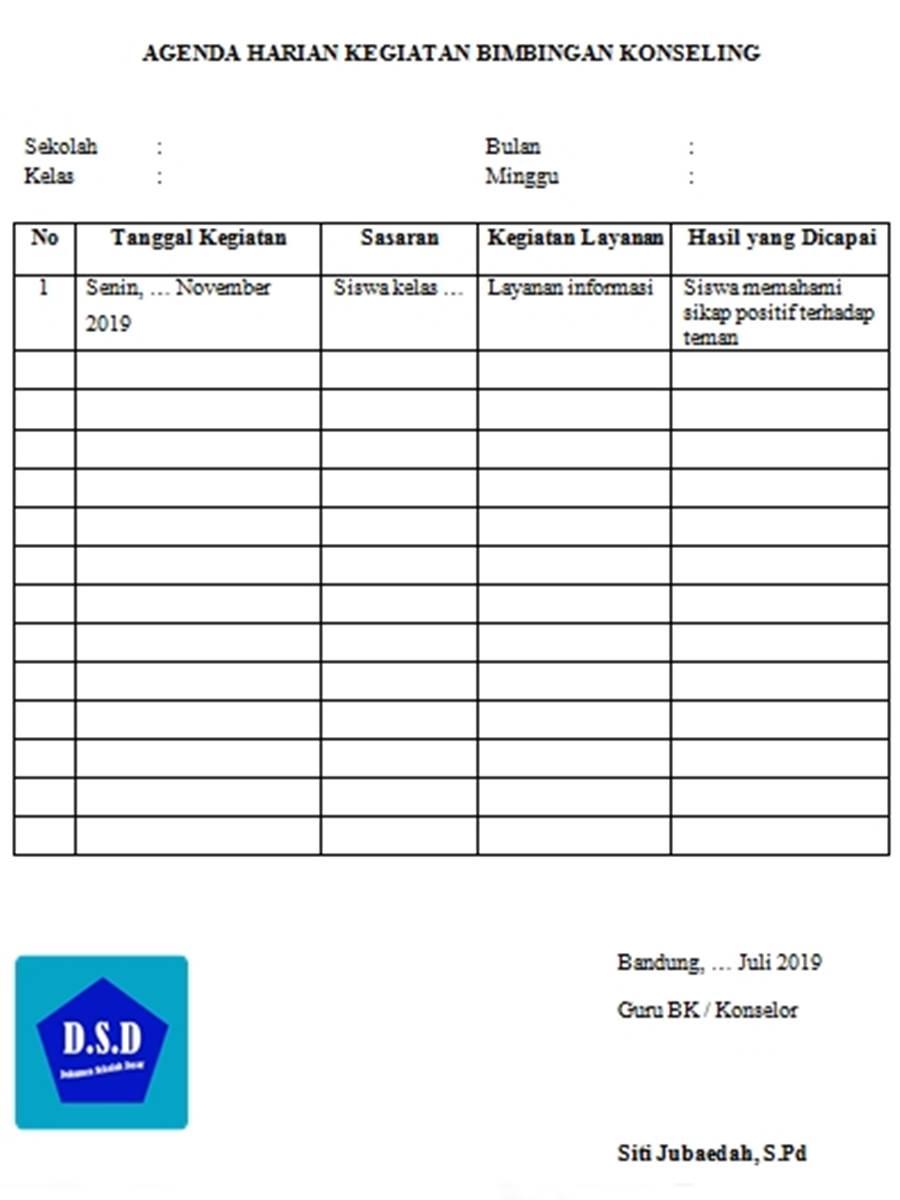 agenda harian kegiatan bimbingan konseling