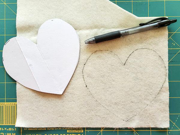 trace heart template onto felt