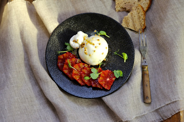 burrata , orange sanguine , Ottolenghi , mozzarella