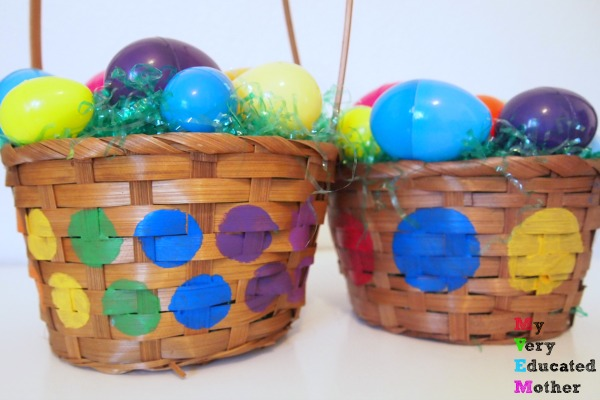 Perfect Crafty Easter Baskets, all you need is a little paint and stencils.