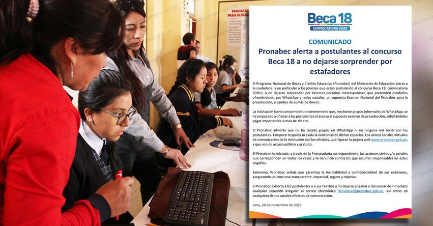 PRONABEC advierte que se intenta estafar a postulantes de Beca 18 - www.pronabec.gob.pe