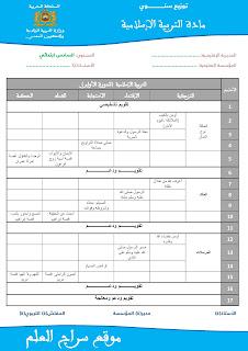 التوزيع السنوي لمادة التربية الإسلامية  للمستوى السادس وفق المنهاج المنقح