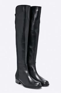 Cizme moderne de fete din piele naturala de firma negre pana la genunchi - Bayla