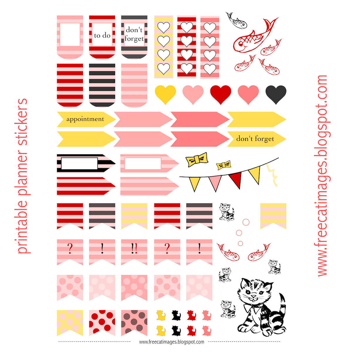 Free Cat Images: Free printable planner stickers - cats