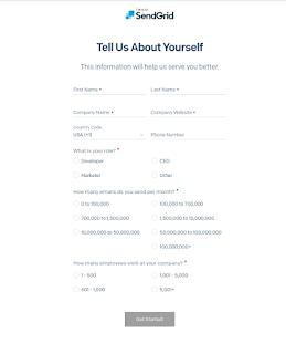 Sendgrid Registration Page | Form 1
