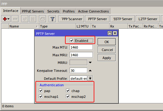 Membuat VPN Server di router mikrotik