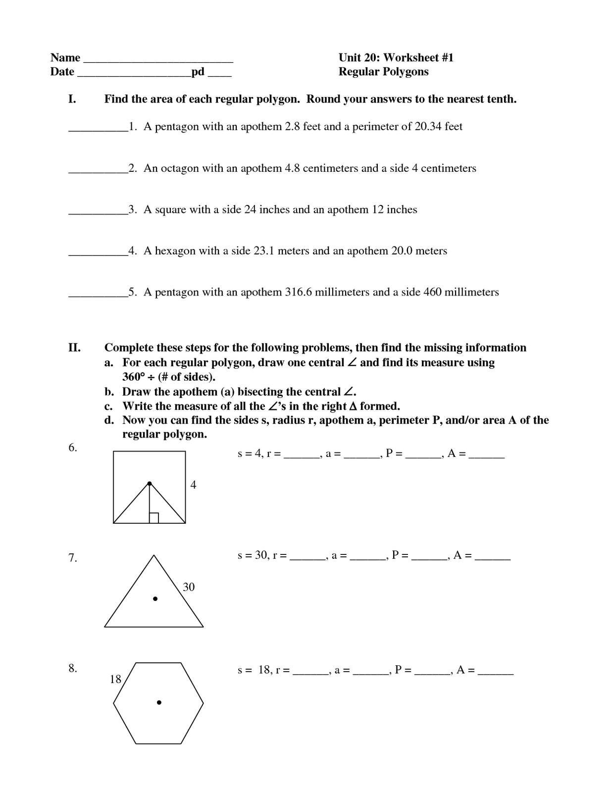 Geometry Area Of Regular Polygons