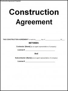 Construction Contract Agreement Format India Sample Construction Agreement  India Home Page Agency Of Commerce And Community