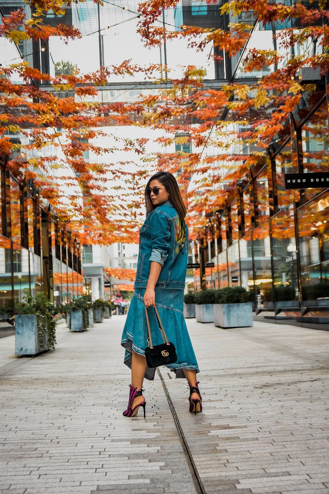 denim on denim, how to wear double denim, fashion, street style, pfw, paris fashion week, levi oversized denim jacket, moose origami skirt, myriad musings, saumya shiohare