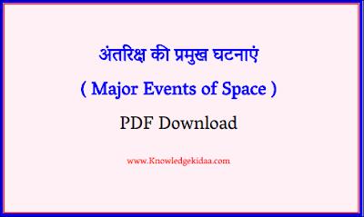 अंतरिक्ष की प्रमुख घटनाएं ( Major Events of Space )