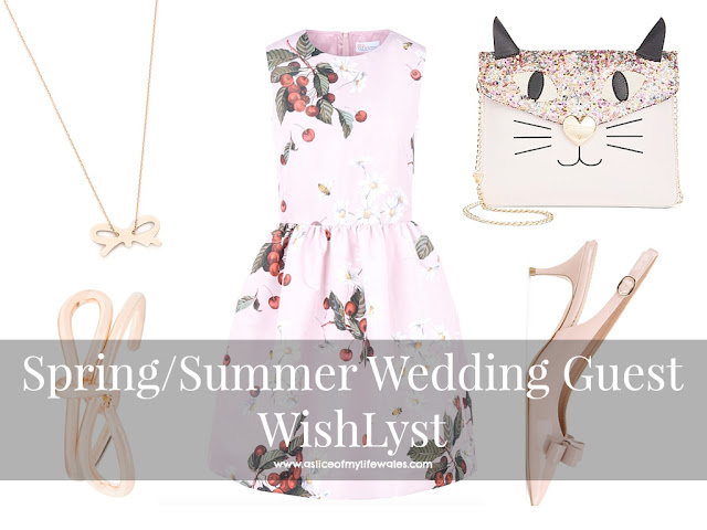 spring summer wedding guest outfit idea with pink dress and sequin cat bag