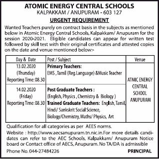 Kalpakkam Anupuram Atomic Energy Central Schools TGT, PGT, Primary Teachers Jobs Recruitment 2020 Walk in Interview
