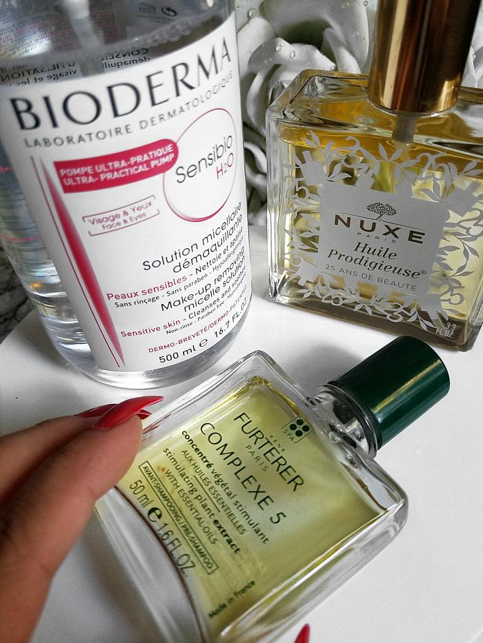 Meine drei Must-Have Beauty Produkte aus der Apotheke - bioderma sensibio h2o nuxe huile prodigieuse rene furterer complexe 5