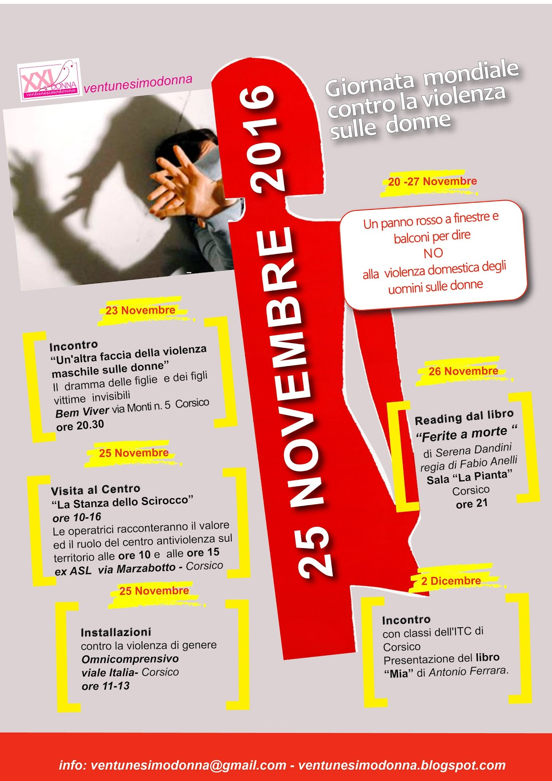 ecco tutte le iniziative organizzate da ventunesimodonna in occasione della  Giornata mondiale contro la violenza sulle donne 4a4a538e0c0