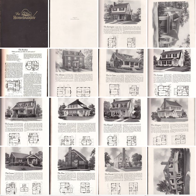 images of plans that are lookalikes to Sears, Aladdin, and Lewis model -- 1923 plan book, published by the National Homebuilders Institute