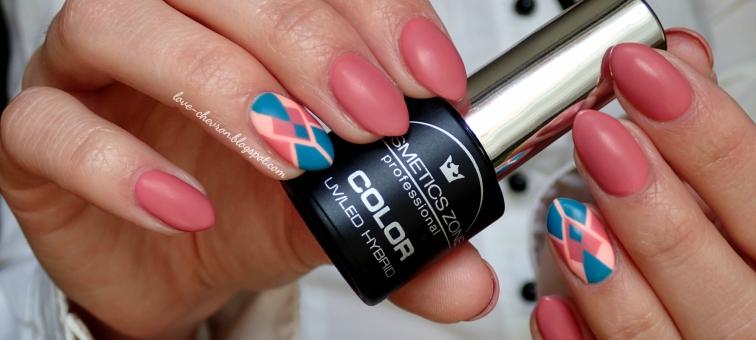 Manicure hybrydowy | hybryda | Cosmetics Zone | lakiery hybrydowe Cosmetics Zone | 014 Indian Roses | 027 Cavansyt | Semilac | 130 Sleeping Beauty | geometryczny manicure |