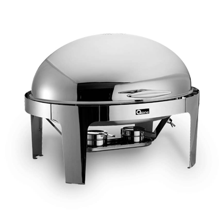 OX-717OV Oxone Oval Roll Top Chafer - Stainless