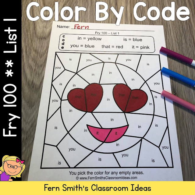Click Here for the Fry 100 Words List 1 Color By Code Printable Worksheets Resource #FernSmithsClassroomIdeas