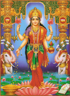 Picture of Goddess Lakshmi, the Hindu Goddess of Wealth & Prosperity