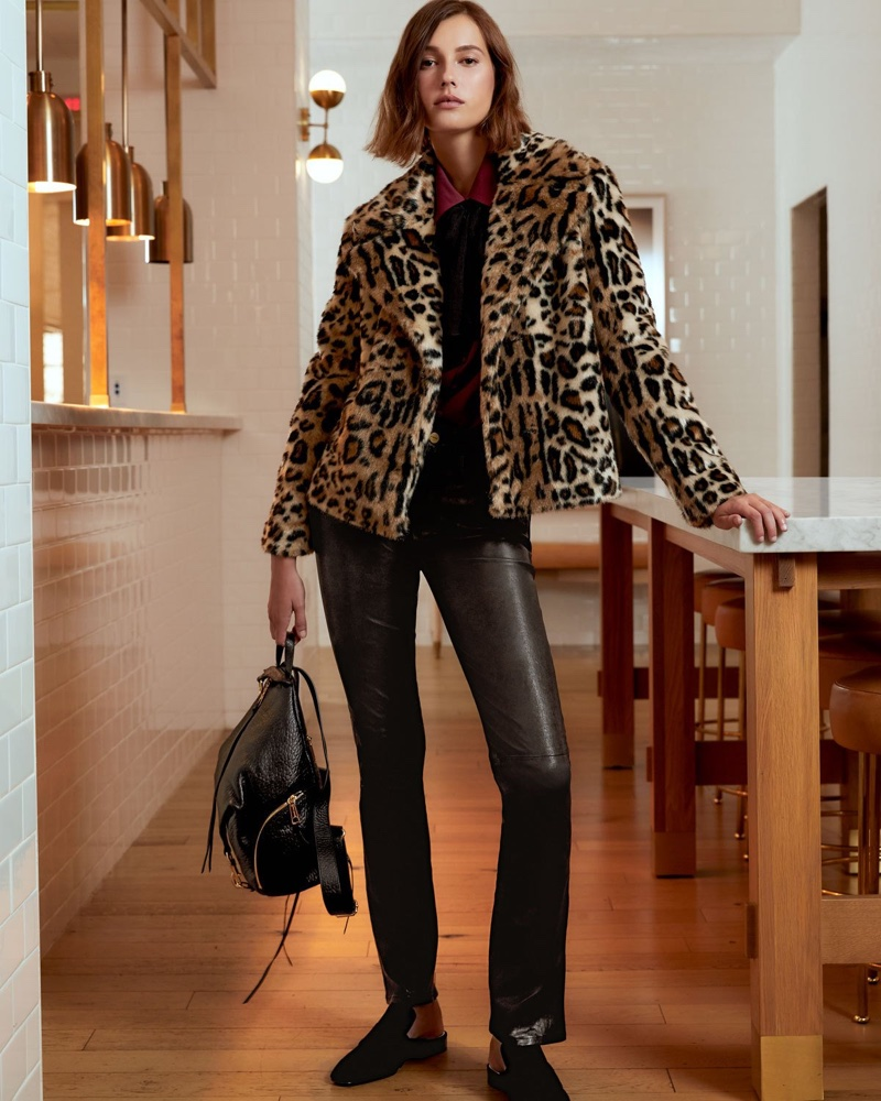 FRAME Faux Fur Cheetah-Print Jacket, Long-Sleeve Silk Button-Front Blouse with Neck Tie and 'Le Mini' Boot-Cut Leather Pants