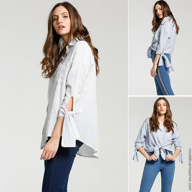 Camisas de mujer con lazos - Moda 2018 camisas de mujer a rayas.