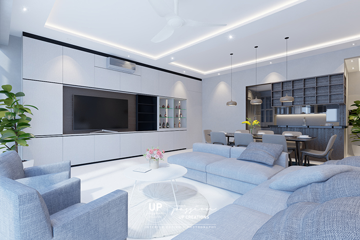 twins damansara heights condo living area in black and white color theme and full height tv console with concealed door to bedrooms, kitchen with dark brown color open shelf and cabinet for a contrast to living area
