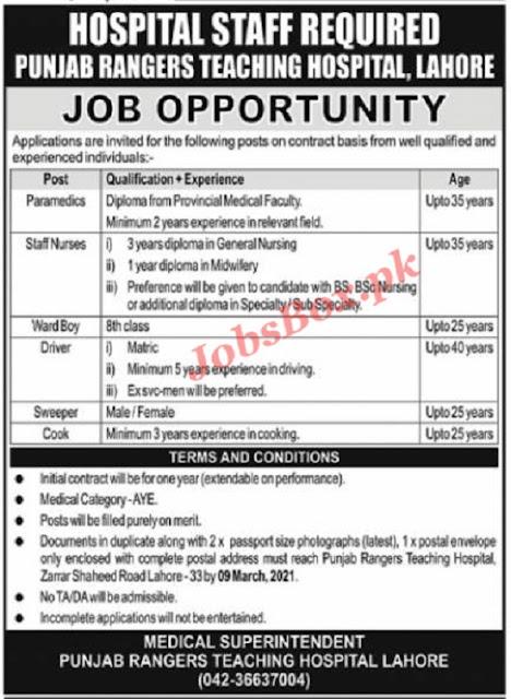 punjab-rangers-teaching-hospital-lahore-jobs-2021-advertisement-latest