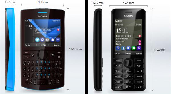 Nokia asha 205 206 smartphones dimensions