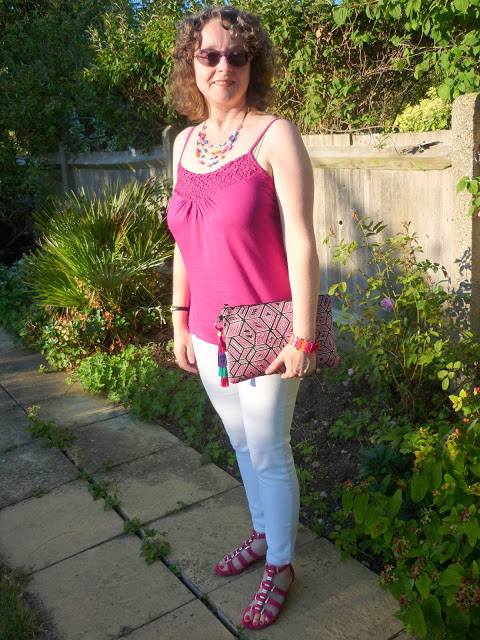 Hot Pink Cami, White Jeans, Pink Gladiator Sandals | Petite Silver Vixen